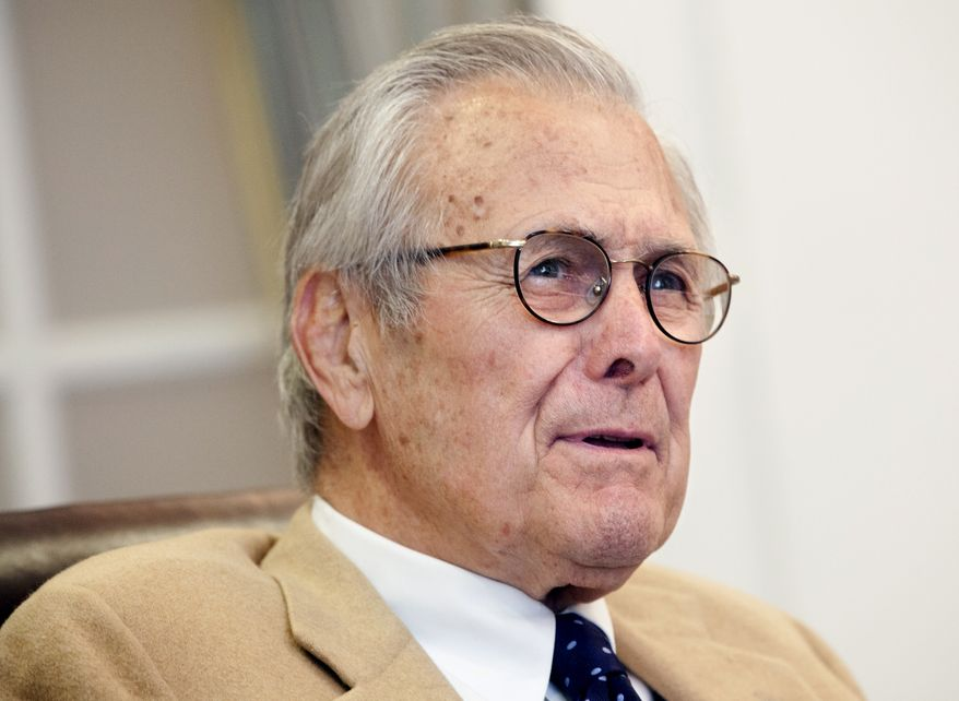Former Secretary of Defense Donald Rumsfeld, shown here speaking at the Gerald R. Ford Presidential Museum in Grand Rapids, Mich., in 2013.  (AP Photo/The Grand Rapids Press, Emily Zoladz) ALL LOCAL TV OUT; LOCAL TV INTERNET OUT
