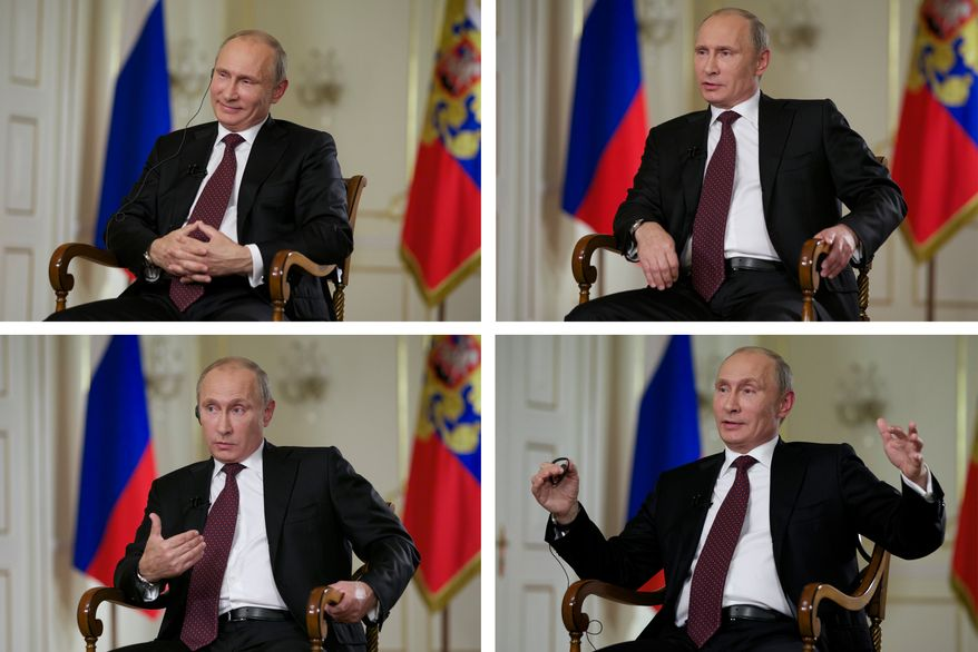 Russian President Vladimir Putin smiles, speaks and gestures during an interview with John Daniszewski, the Associated Press's senior managing editor for international news, at Mr. Putin's Novo-Ogaryovo residence outside Moscow on Tuesday, Sept. 3, 2013. The Russian leader sought to downplay the current chill in the U.S.-Russian relations and said that the two countries need to cooperate on a range of issues in the interests of global stability. (AP Photo/Alexander Zemlianichenko)