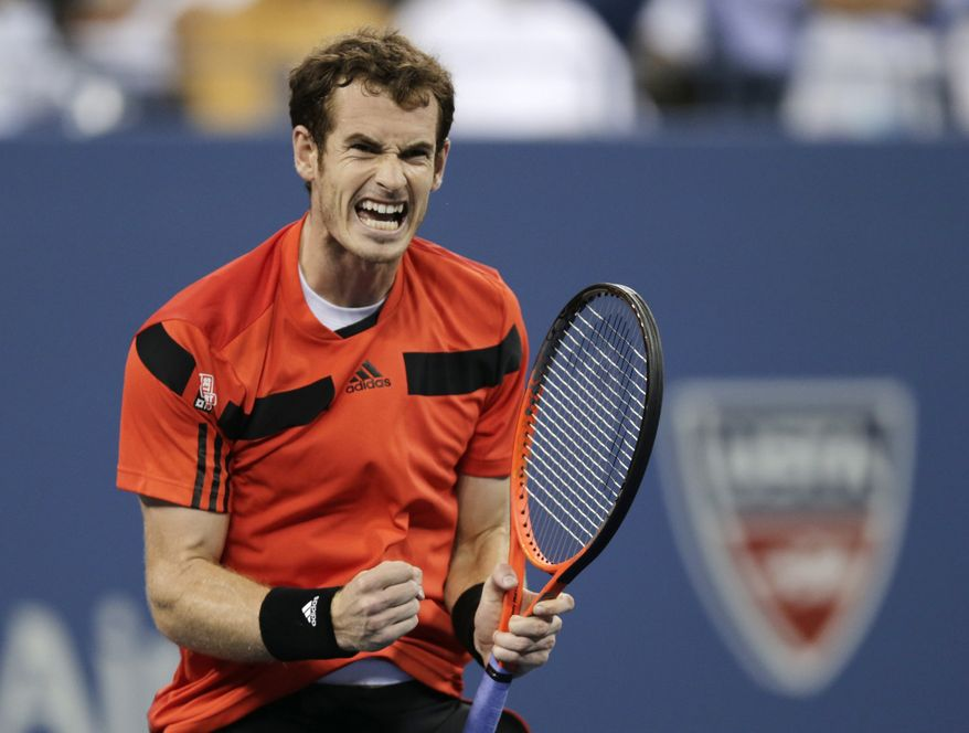 Andy Murray, of Britain, reacts after winning the third set against Denis Istomin, of Uzbekistan, during the fourth round of the U.S. Open tennis tournament, Tuesday, Sept. 3, 2013, in New York. (AP Photo/Charles Krupa)