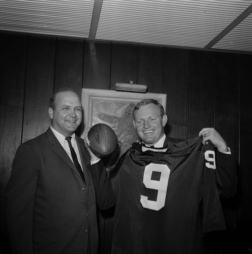 Former Redskins coach Bill McPeak was a happy man when Washington acquired Sonny Jurgensen before the 1964 season. But the happiness was fleeting, as McPeak was fired after the 1965 season. He went 21-46 overall. (associated press)