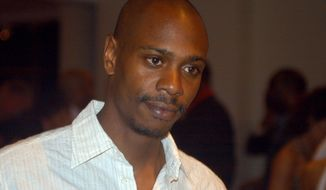 ** FILE ** In a May 5, 2006, file photo comedian Dave Chappelle attends a reception at the Muhammad Ali Center in Louisville, Ky. Chappelle decided to sit out most of his show in Hartford Thursday, Aiug. 29, 2013, because of a noisy audience. (AP Photo/Brian Bohannon, file)