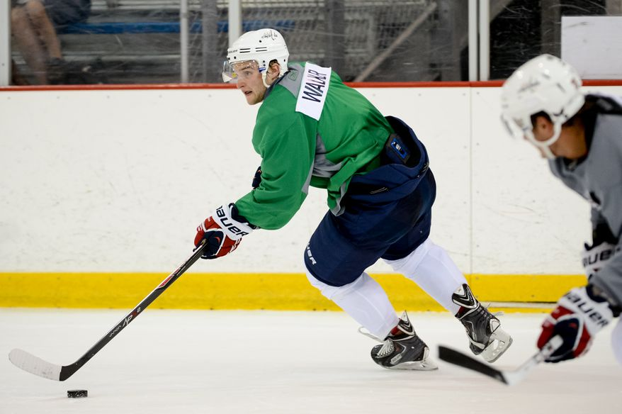 Forward Nathan Walker (79) participates in afternoon practice during the 2013 Capitals Rookie Camp at Kettler Capitals Iceplex, Arlington, Va., Thursday, September 5, 2013. (Andrew Harnik/The Washington Times)