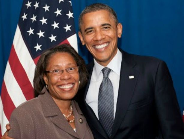 Congresswoman Marcia L. Fudge, D-Ohio, poses with President Obama in a picture posted to her official website. (Image: Fudge.house.gov)