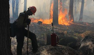 A Hotshot fire crew member rests near a controlled-burn operation at Horseshoe Meadows as crews continue to fight the Rim Fire near Yosemite National Park in California on Wednesday, Sept. 4, 2013. (AP Photo/U.S. Forest Service, Mike McMillan)