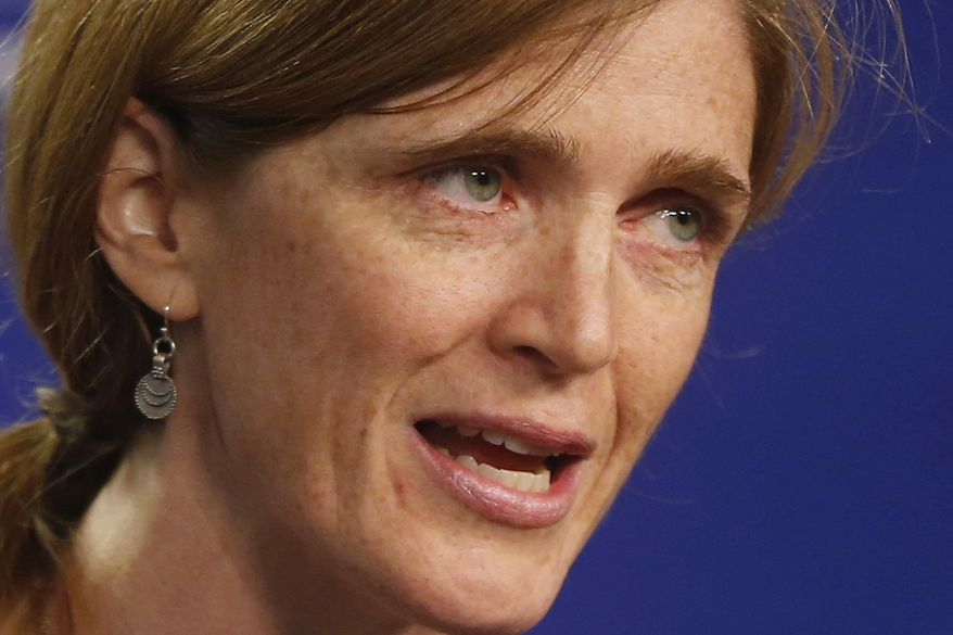 **FILE** U.S. United Nations Ambassador Samantha Power speaks about Syria on Sept. 6, 2013, at the Center for American Progress in Washington. (Associated Press)