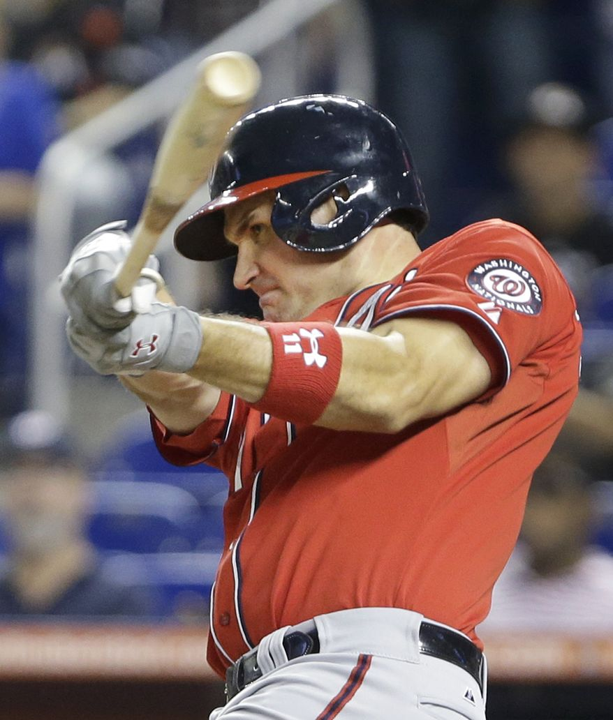 Washington Nationals' Ryan Zimmerman hits a two-run home run during the first inning of a baseball game against the Miami Marlins, Saturday, Sept. 7, 2013, in Miami. Denard Span scored on the play. (AP Photo/Wilfredo Lee)