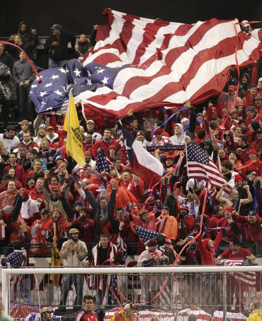Fans celebrate after the United States scored a goal against Mexico in a soccer World Cup qualifying match Wednesday, Feb. 11, 2009, in Columbus, Ohio. The United States won 2-0. (AP Photo/Paul Vernon)