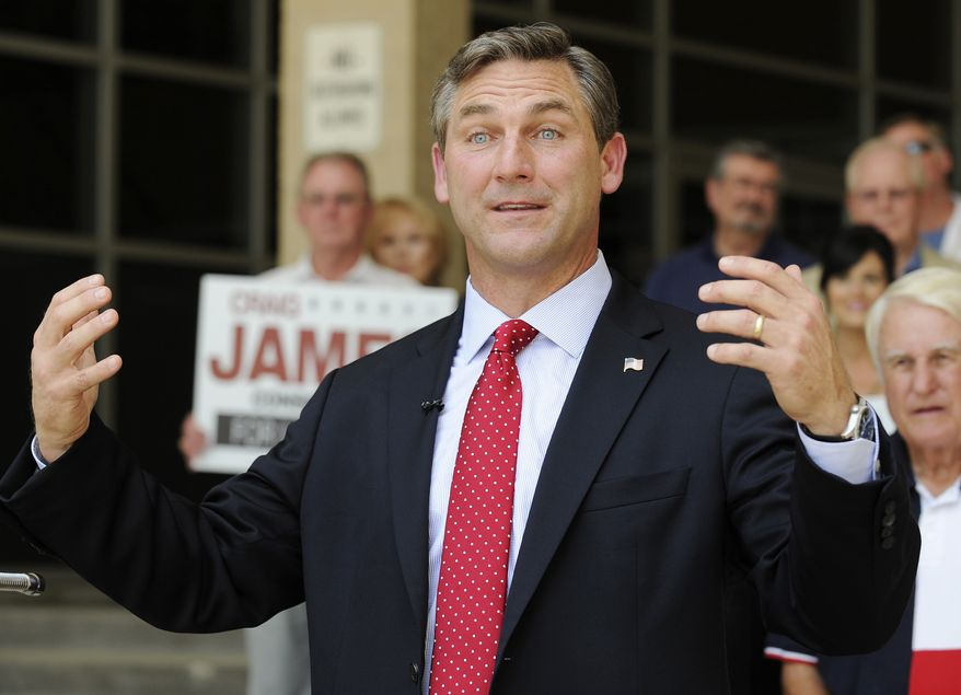 **FILE** Craig James, Texas Republican and U.S. Senate candidate, speaks at a press conference in Houston on May 24, 2012. (Associated Press)