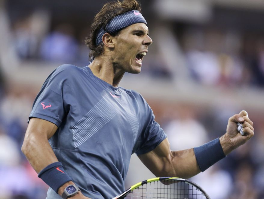 Rafael Nadal, of Spain, reacts after a point against Novak Djokovic, of Serbia, during the men's singles final of the 2013 U.S. Open tennis tournament, Monday, Sept. 9, 2013, in New York. (AP Photo/Charles Krupa)