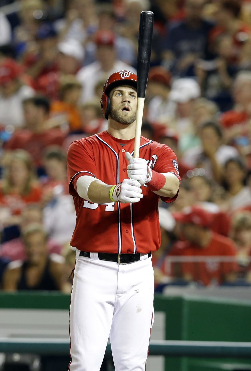 **FILE** Washington Nationals center fielder Bryce Harper (34) prepares to bat during a baseball game against the New York Mets at Nationals Park Sunday, Sept. 1, 2013, in Washington. (AP Photo/Alex Brandon)