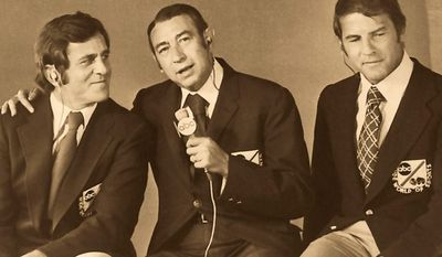 This Jan. 1972 photo shows from left, Don Meredith, Howard Cosell and Frank Gifford, the broadcasting team for Monday Night Football. (Courtesy ABC)