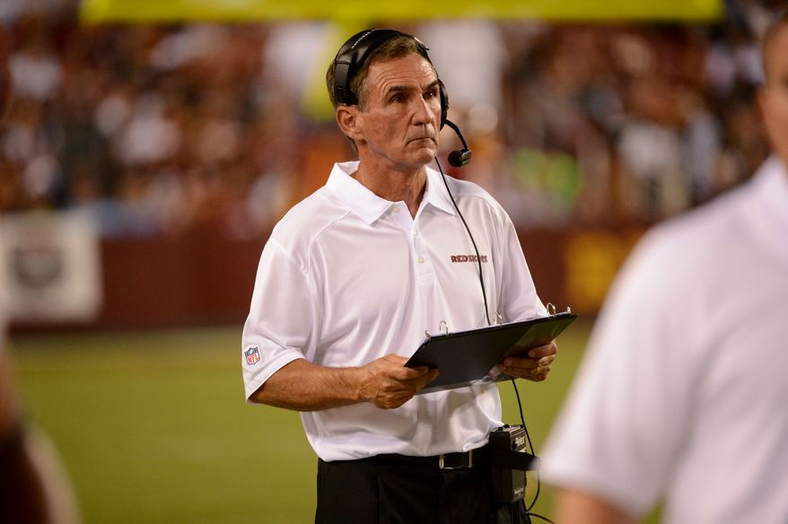 Washington Redskins head coach Mike Shanahan in the third quarter as the Washington Redskins play the Philadelphia Eagles in Monday Night NFL football at FedExField, Landover, Md., Monday, September 9, 2013. (Andrew Harnik/The Washington Times)