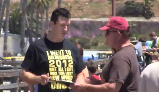 "Video journalist Mark Dice took to the Oceanside Pier in San Diego, Calif., asking people to sign a fake petition allowing Karl Marx on the 2016 presidential ballot, ""since Obama's been working with him."" (Screen grab from YouTube)"