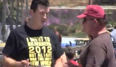 """Video journalist Mark Dice took to the Oceanside Pier in San Diego, Calif., asking people to sign a fake petition allowing Karl Marx on the 2016 presidential ballot, """"since Obama's been working with him."""" (Screen grab from YouTube)"""