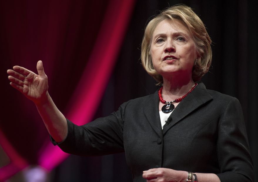 **FILE** Former Secretary of State Hillary Rodham Clinton speaks in Washington on July 16, 2013. (Associated Press)