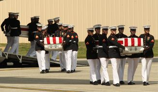 """SHROUDED: Nearly a year after the remains of the four Americans were repatriated, little is known about the Benghazi terrorist attack that killed them. Survivors have said little publicly, """"talking points"""" have proved false and the White House has called it a """"phony scandal."""" (ASSOCIATED PRESS)"""