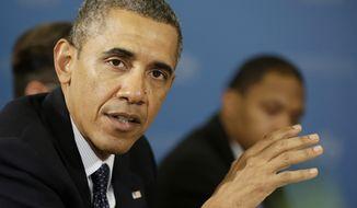 ** FILE ** President Obama speaks in St. Petersburg on Friday, Sept. 6, 2013. (AP Photo/Pablo Martinez Monsivais)