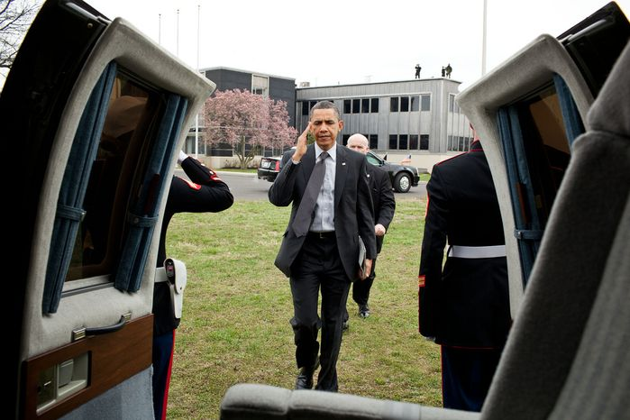 President Barack Obama salutes as he walks to Marine One following a town hall meeting in Fairless Hills, Pa., April 6, 2011. (Official White House Photo by Pete Souza)
