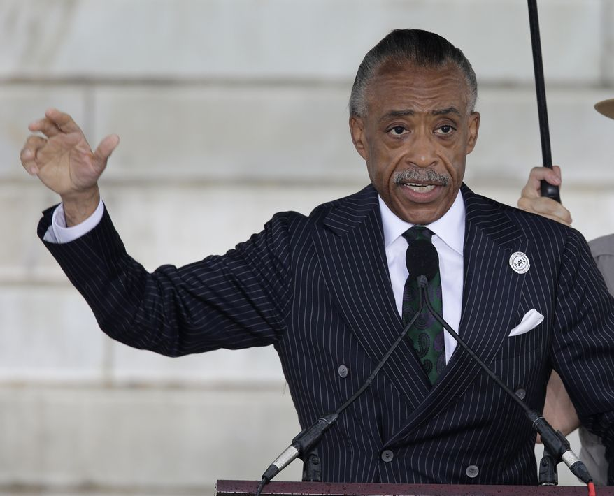 ** FILE ** The Rev. Al Sharpton, founder and president of the National Action Network, speaks at the Let Freedom Ring ceremony at the Lincoln Memorial in Washington on Wednesday, Aug. 28, 2013, to commemorate the 50th anniversary of the 1963 March on Washington for Jobs and Freedom. (Associated Press)