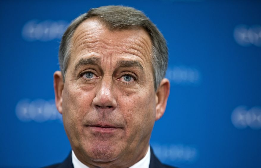 **FILE** Speaker of the House John Boehner, Ohio Republican, and GOP leaders talk to reporters following a Republican strategy session at the Capitol on Sept. 10, 2013. (Associated Press)