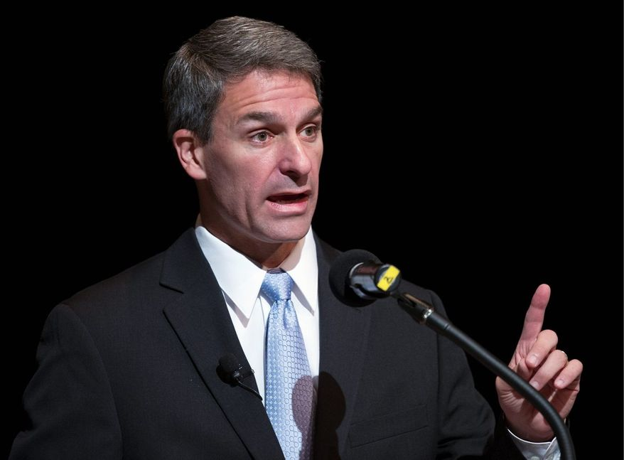 "Attorney General Kenneth T. Cuccinelli II, the Republican candidate for Virginia governor, has brought the importance of the state's coal industry back into the campaign picture. A new ad cites Democrat Terry McAuliffe's words as a candidate four years ago that ""as governor, I never want another coal plant built."" (associated press photographs)"