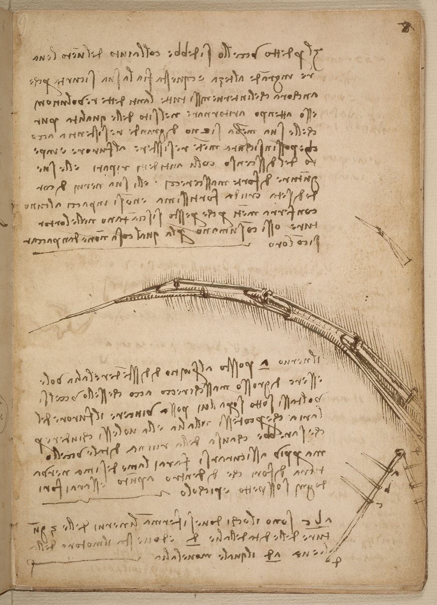 Da Vinci addresses the importance of lightweight structures and illustrates the structure of a mechanical wing in the codex on plans for human flight.