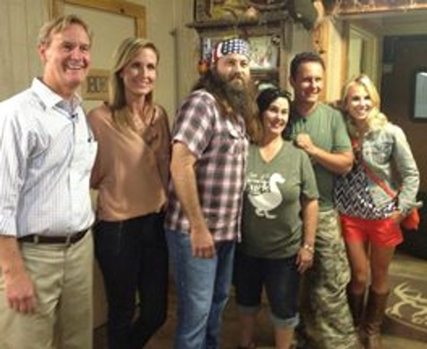 "Elisabeth Hasselbeck debuts Monday on the Fox News Channel's ""Fox & Friends"" with co-hosts Steve Doocy and Brian Kilmeade and a visit with Korie, Willie and ""Miss Kay"" Robertson of ""Duck Dynasty"" in Louisiana next week. (Fox News Channel)"