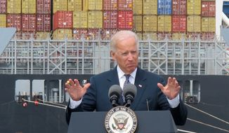 Vice President Joseph R. Biden emphasizes the importance of investing in infrastructure at the nation's ports to enable manufacturers to ship products more efficiently around the world to help stimulate job growth, during a visit to Baltimore on Monday, Sept. 9, 2013. (AP Photo/Brian Witte)