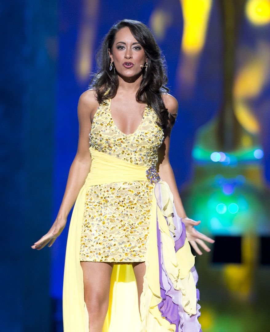 """This Sept. 10, 2013 photo released by the Miss America Organization shows Miss New Hampshire Samantha Russo participating in the  talent competition during first night of preliminaries for the Miss America pageant in Atlantic City, N.J. Russo won by singing a Barbra Streisand song from the musical """"Funny Girl."""" A tribute to the victims of the 9/11 attacks will open the second night of preliminary competition on Wednesday night and a new Miss America will be crowned on Sunday. (AP Photo/Miss America Organization)"""