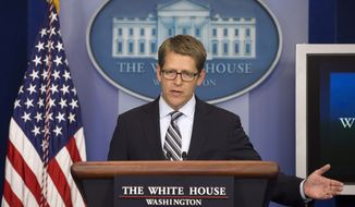 White House press secretary Jay Carney gestures as he answers questions on Syria during the daily news briefing on Thursday, Sept. 12, 2013, at the White House in Washington. (AP Photo/Evan Vucci)