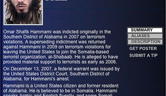 "Omar Shafik Hammami, a jihadi from Alabama whose nom de guerre was Abu Mansoor Al-Amriki, or ""the American,"" ascended the ranks of Somalia's al-Qaeda-linked militant group al-Shabab high enough to attract a $5 million U.S. government bounty. He was killed on Thursday, Sept. 12, 2013, in an ambush ordered by the militant group's leader, militants said. (AP Photo/FBI)"