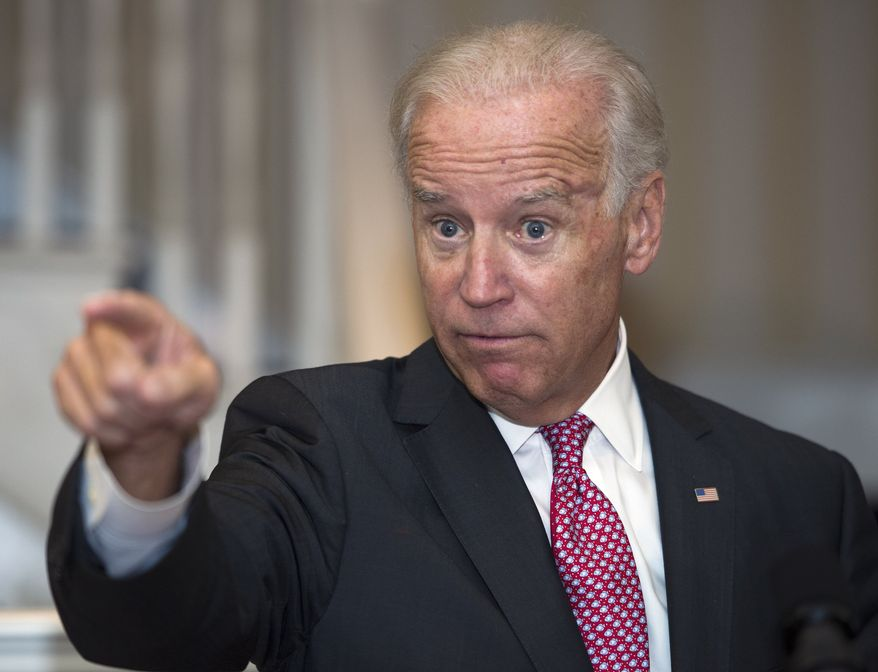 Vice President Joseph R. Biden gestures while addresses a reception to commemorate the 19th Anniversary of the Violence Against Women Act at the Naval Observatory in Washington, Thursday, Sept. 12, 2013. (AP Photo/Cliff Owen)
