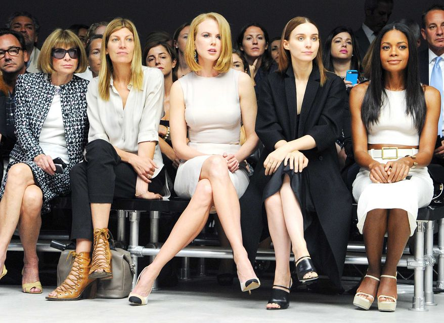 This image released by Calvin Klein Collection shows (from left) Anna Wintour, Virginia Smith, Nicole Kidman, Rooney Mara and Naomie Harris at a show for the designer's Spring 2014 collection during Fashion Week in New York on Sept. 12, 2013. (Associated Press/Calvin Klein Collection, Billy Farrell)