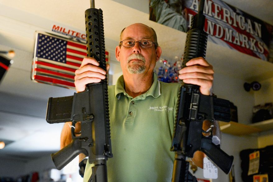 """Jim Greer, owner of Angus MacGregor's Trading Post, is moving his gun shop and model train store to Pennsylvania because of Maryland's gun legislation that takes effect next month. """"Ninety percent of my store's sales are handguns,"""" Mr. Greer said. """"I can't survive for a month. A business needs its cash flow."""" (Andrew Harnik/The Washington Times)"""