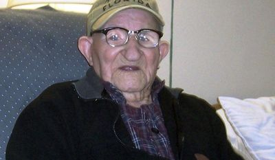 Salustiano Sanchez-Blazquez, who Guinness World Records said was the world's oldest man, died on Friday, Sept. 13, 2013, in nursing home in Grand Island, N.Y. He was 112. (AP Photo/Guiness World Records)