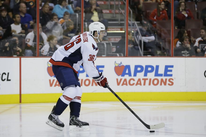 Washington Capitals' Tomas Kundratek in action during a preseason NHL hockey game against the Philadelphia Flyers, Monday, Sept. 16, 2013, in Philadelphia. (AP Photo/Matt Slocum)