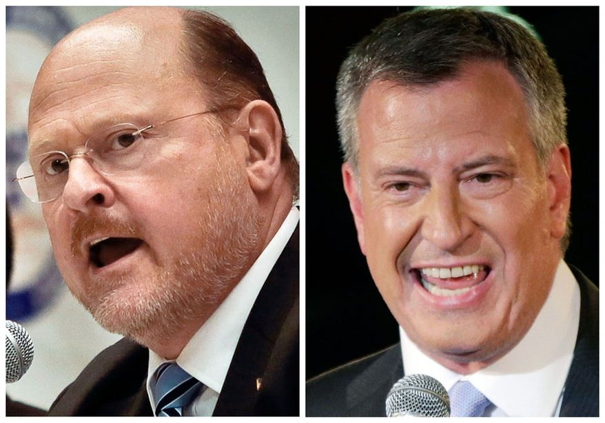 This combination of Associated Press file photos shows, left, an Aug. 6, 2013, file photo, of New York Republican mayoral hopeful Joe Lhota, and right a Sept. 10, 2013, file photo of New York City Democratic mayoral hopeful Bill de Blasio. (AP Photo/File)