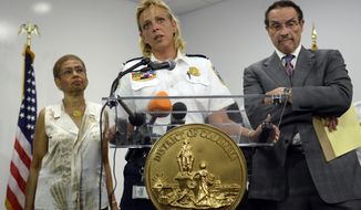 District of Columbia Police Chief Cathy Lanier (center), flanked by D.C. Rep. Eleanor Holmes Norton (left) and Mayor Vincent Gray, briefs reporters on the shooting at the Washington Navy Yard in Washington on Sept. 16, 2013. (Associated Press)