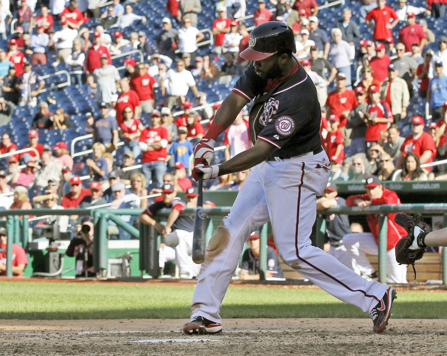 Denard Span's hitting streak reached 28 games on Tuesday and he is now just two games shy of tying the Washington Nationals' record of 30. (Associated Press photo)