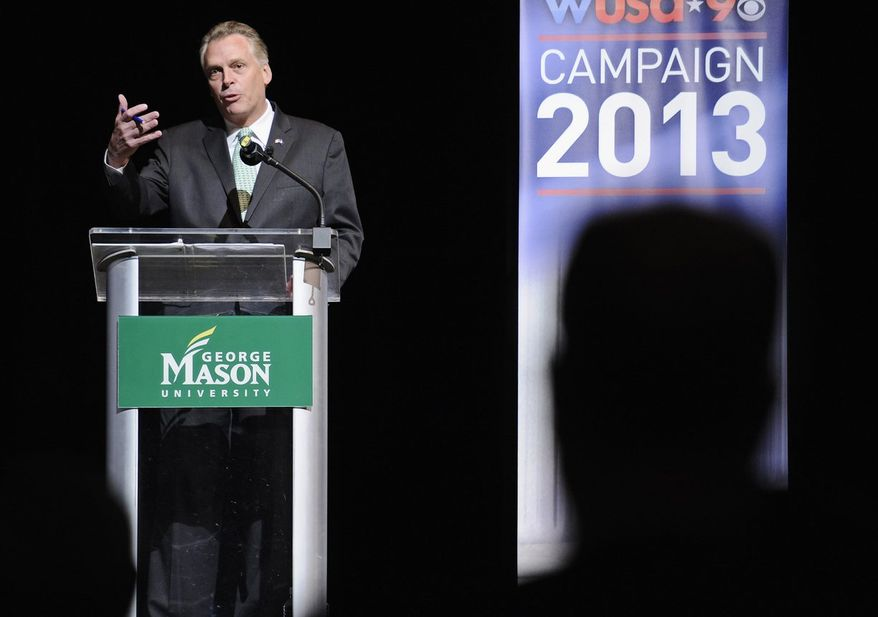 Virginia Democratic gubernatorial candidate Terry McAuliffe speaks at the Battleground Forum, Friday, Aug. 9, 2013, at the Prince William campus of George Mason University in Manassas, Va. McAuliffe and Republican Ken Cuccinelli met Friday in another non-debate forum, a format that's become common among Virginia's two scandal-scarred candidates for governor.  (AP Photo/Cliff Owen)