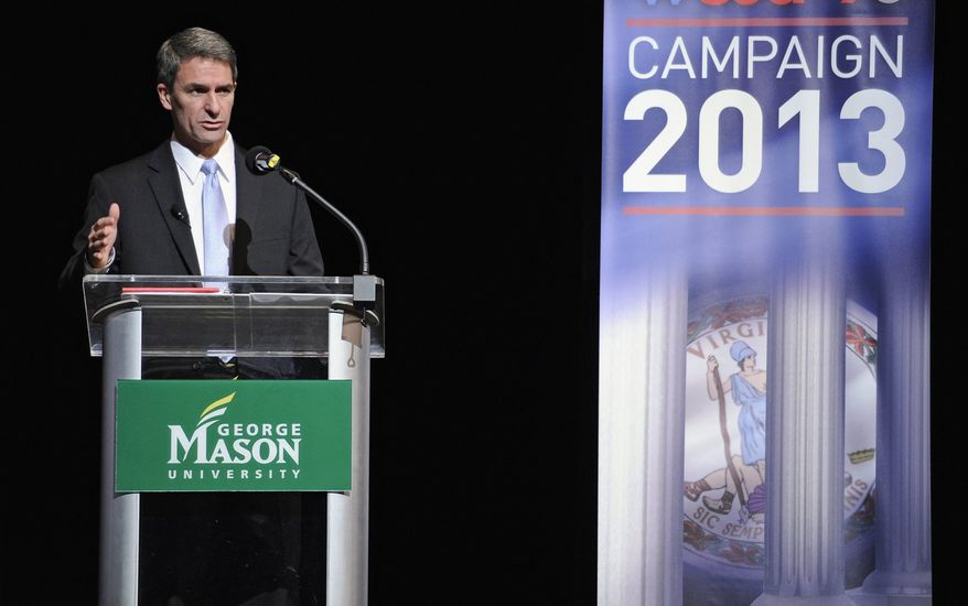 Neither Republican Kenneth T. Cuccinelli II (left) or Democrat Terry McAuliffe can take comfort that many poll respondents consider both dishonest. Virginia Republican gubernatorial candidate Ken Cuccinelli speaks at the Battleground Forum, Friday, Aug. 9, 2013, at the Prince William campus of George Mason University in Manassas, Va. McAuliffe and Republican Ken Cuccinelli met Friday in another non-debate forum, a format that's become common among Virginia's two scandal-scarred candidates for governor.  (AP Photo/Cliff Owen) (associated press photographs)