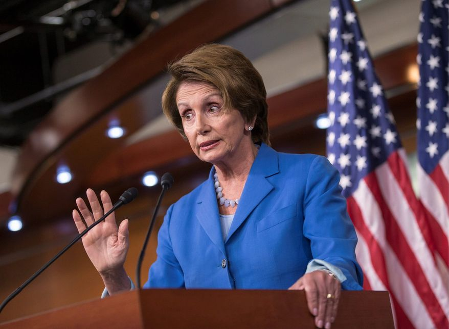 """House Minority Leader Nancy Pelosi, California Democrat, said Republicans are """"playing with fire"""" with a bill that would prevent a partial government shutdown and avoid a historic national default while canceling out President Obama's health care overhaul. (Associated Press)"""