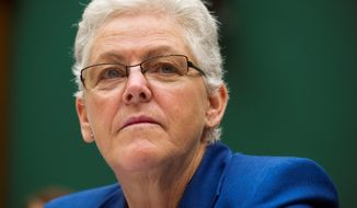EPA administrator Gina McCarthy testifies before the House Subcommittee on Energy and Power on Capitol Hill, in Washington, Wednesday, Sept. 18, 2013. (AP Photo/Cliff Owen)