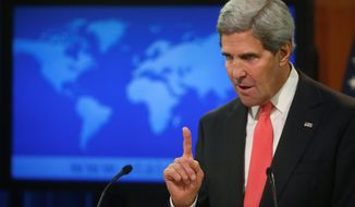 Secretary of State John Kerry makes a statement about Syria and chemical weapons ahead of next week's United Nations General Assembly at the State Department in Washington, Thursday, Sept. 19, 2013. (AP Photo/Charles Dharapak)