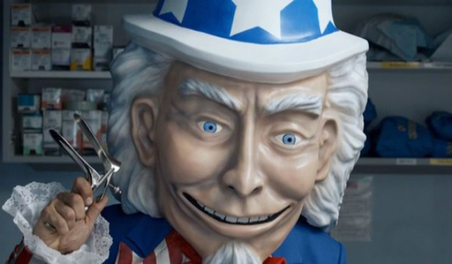 "A screen shot from Generation Opportunity's ""Opt Out - The Exam - Creepy Uncle Sam"" YouTube video. (Image: Generation Opportunity)"