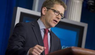 White House spokesman Jay Carney gestures during the daily press briefing at the White House on Sept. 19, 2013 in Washington. (Associated Press)