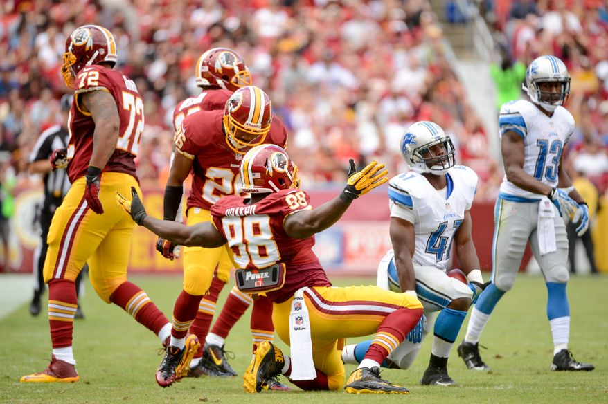 Washington Redskins outside linebacker Brian Orakpo (98) celebrates a tackle in the second quarter as the Washington Redskins play the Detroit Lions in NFL football at FedExField, Landover, Md., Monday, September 9, 2013. (Andrew Harnik/The Washington Times)