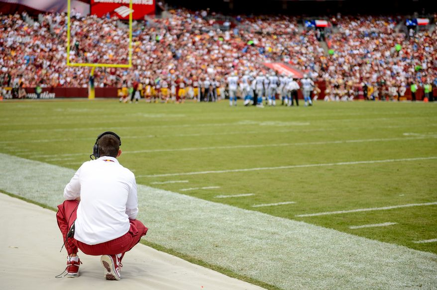 Washington Redskins offensive coordinator Kyle Shanahan watches game action as the Washington Redskins play the Detroit Lions in NFL football at FedExField, Landover, Md., Monday, September 9, 2013. (Andrew Harnik/The Washington Times)