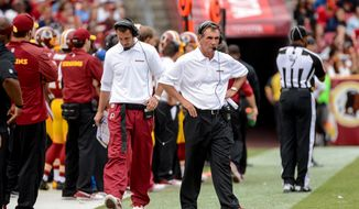 Washington Redskins offensive coordinator Kyle Shanahan, left, and Washington Redskins head coach Mike Shanahan, right, walk the sideline in the third quarter as the Washington Redskins play the Detroit Lions in NFL football at FedExField, Landover, Md., Monday, September 9, 2013. (Andrew Harnik/The Washington Times)