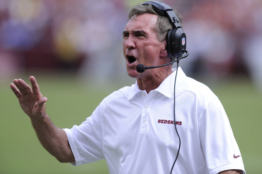 Washington Redskins head coach Mike Shanahan argues a holding call in the second quarter as the Washington Redskins play the Detroit Lions at FedExField, Landover, Md., September 22, 2013. (Preston Keres/Special for The Washington Times)